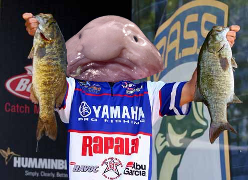 5 bass fishing pros as really ugly fish for Ugly fish blob
