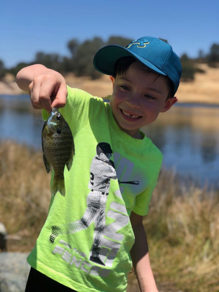 bluegill fishing from the bank